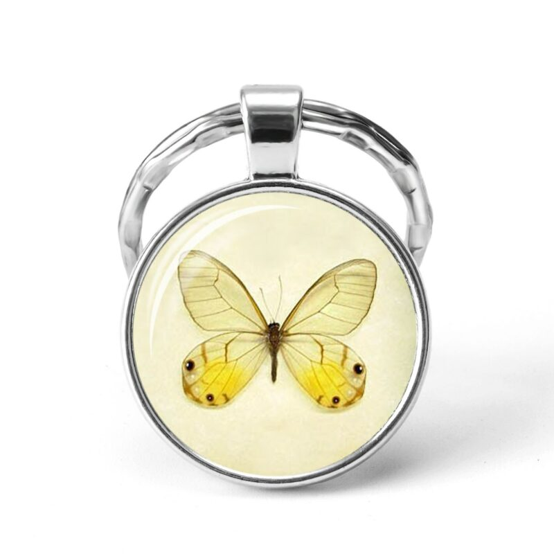 Round pendant butterfly yellow