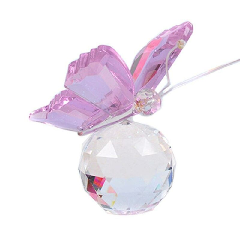 Pink crystal butterfly figurine