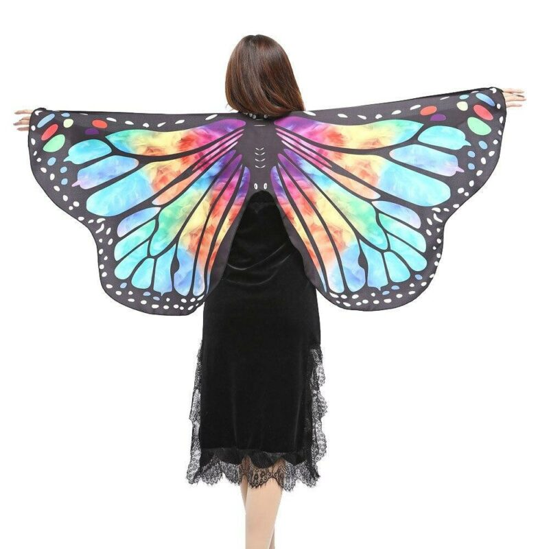 Multicolored butterfly girl disguise