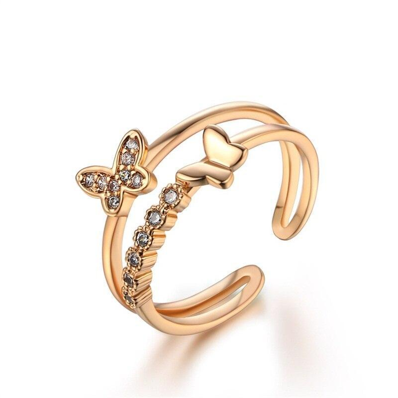 Yellow gold crystal open butterfly ring
