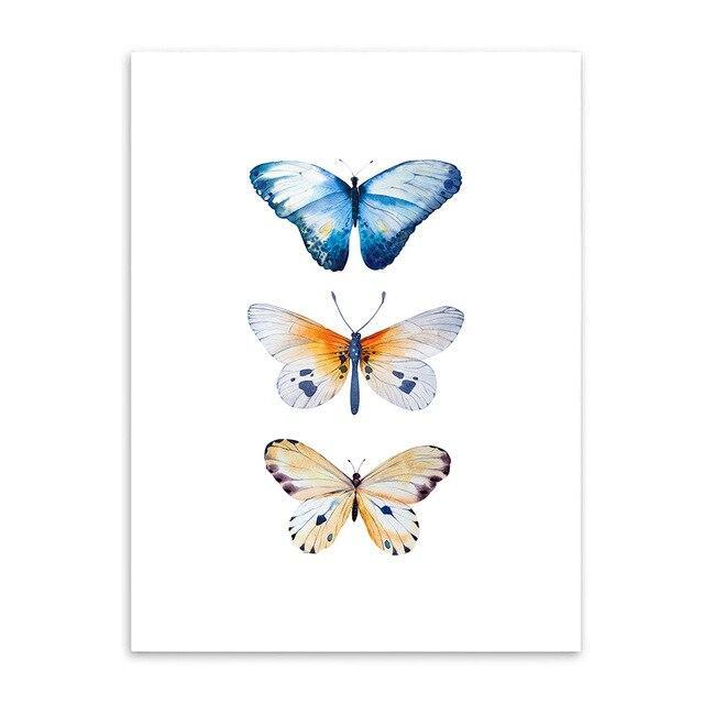Blue white yellow butterfly painting