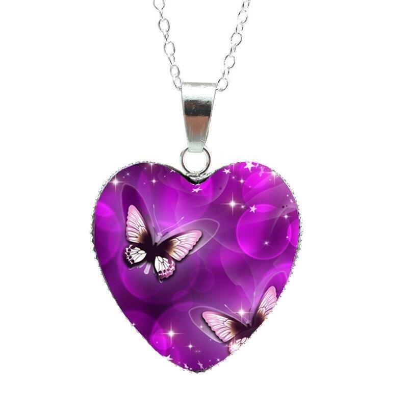Purple butterfly heart pendant with chain