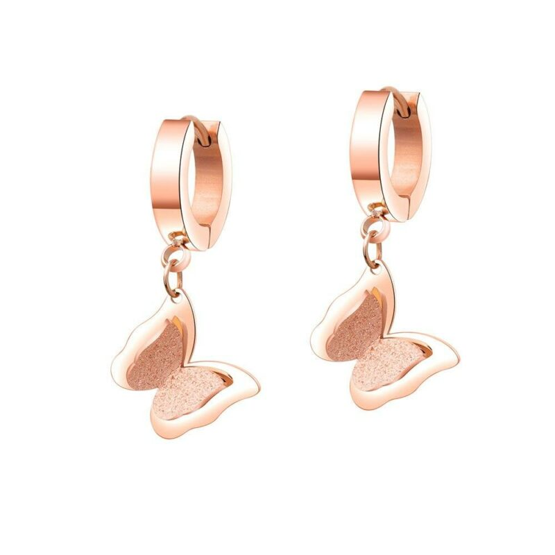 Double layer butterfly earrings rose gold