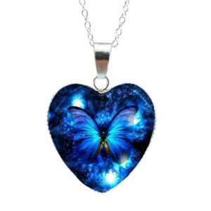 Night butterfly heart pendant with chain