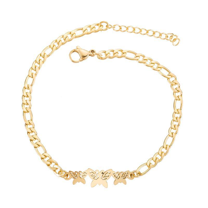 Yellow gold butterfly charms bracelet
