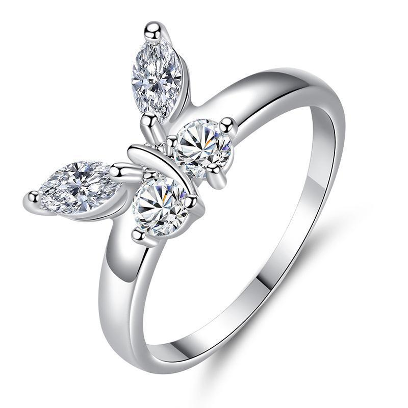 White gold butterfly ring with diamonds