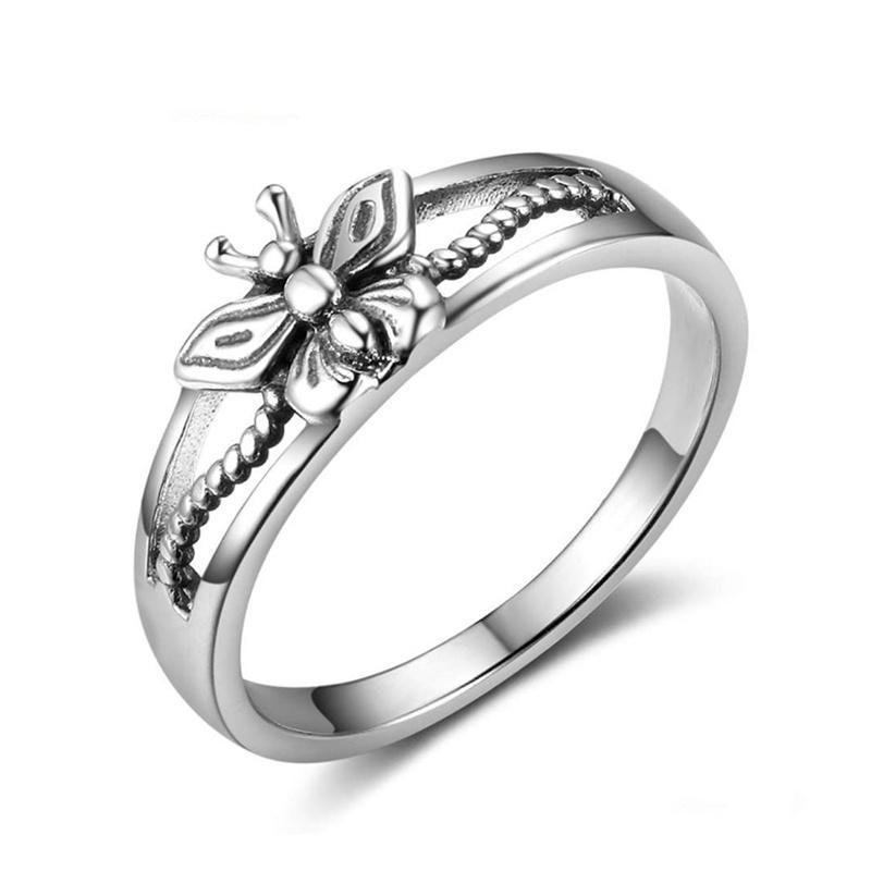 Vintage silver butterfly ring