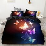 Black butterfly comforter cover