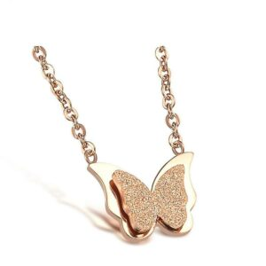 Pink gold butterfly chain