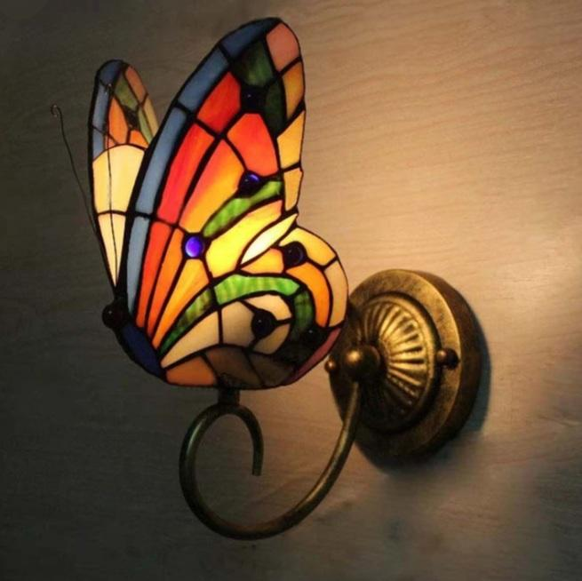 Butterfly lamp wall stained glass orange and green - Rêve de Papillon