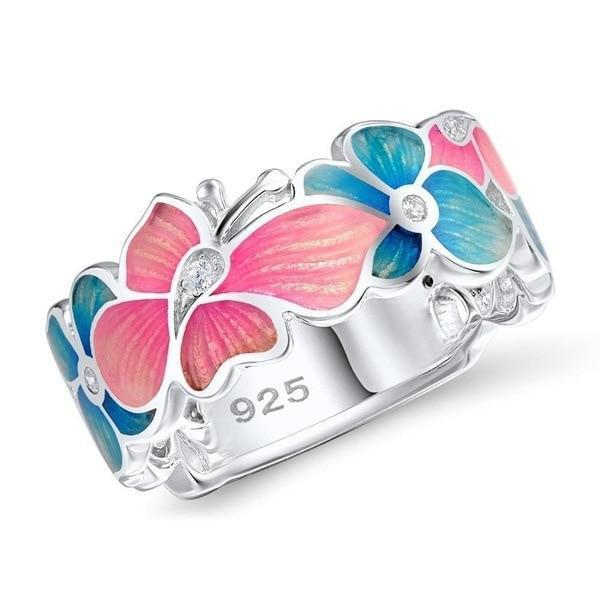 silver-pink-blue butterfly-ring