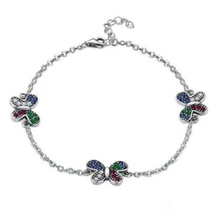 Silver Butterfly bracelet with white, blue, red and green zircons - Rêve de Papillon