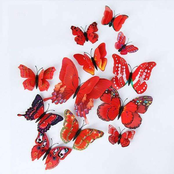 Red 3D Butterfly Magnet Stickers - Butterfly Dream