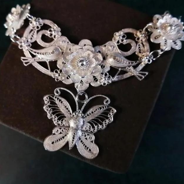 Silver Butterfly Necklace with birds and flowers - Rêve de Papillon