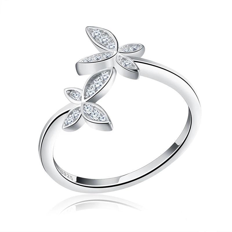 Silver Butterfly Ring with White Zirconia - Rêve de Papillon