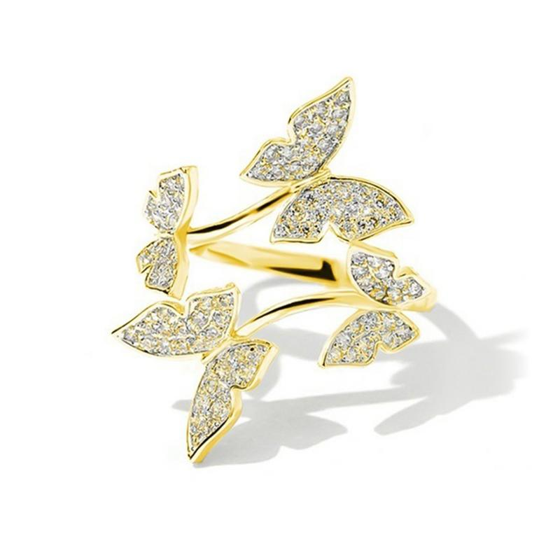 Gold and Zircon Butterfly Ring - Rêve de Papillon