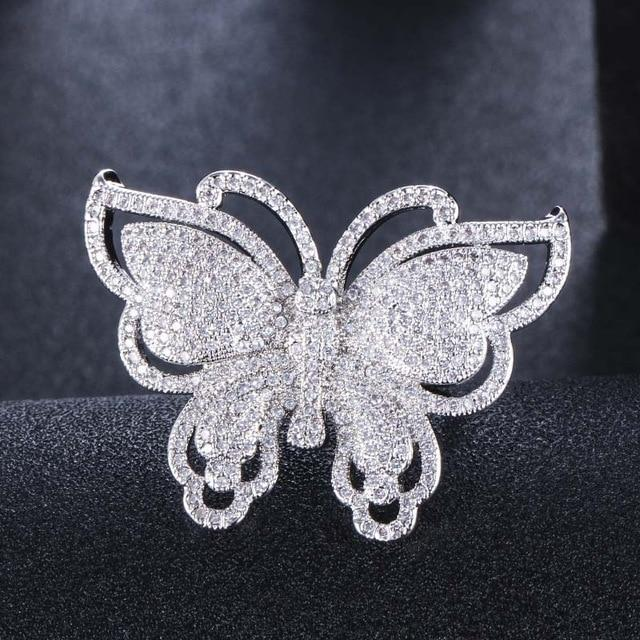 Gold Butterfly ring with white zircons - Rêve de Papillon