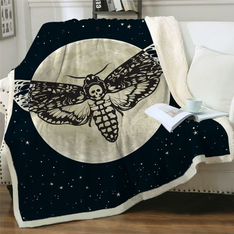 Butterfly Blanket Sphinx Death's Head and Moon Gothic Style - Butterfly Dream