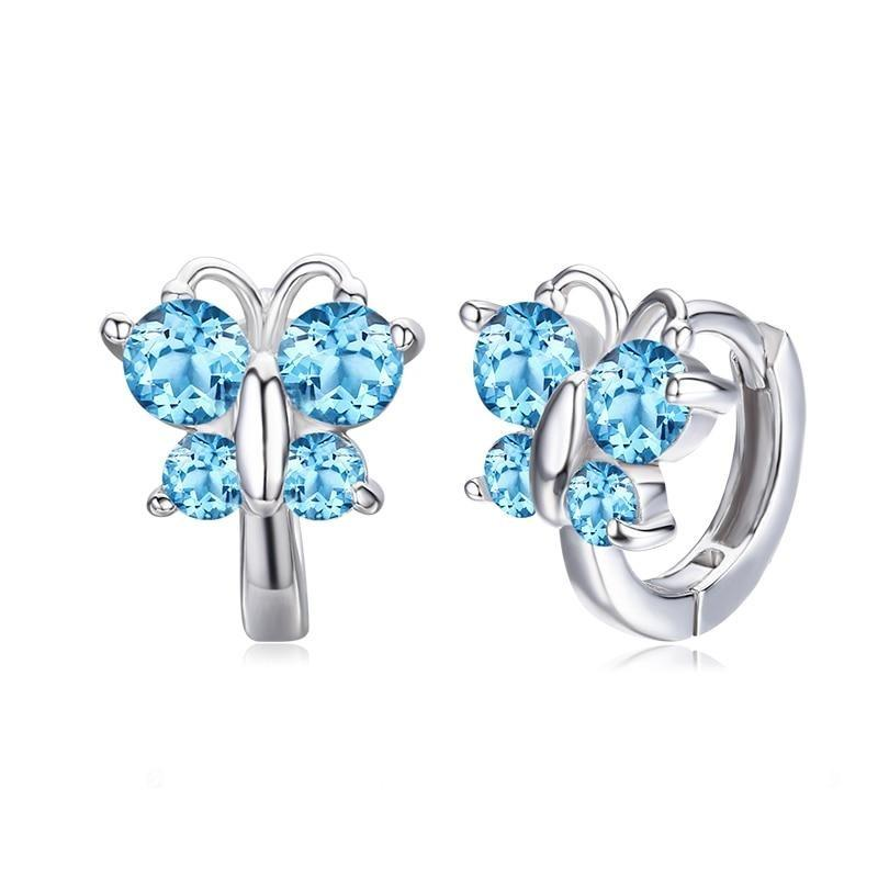 Blue Crystal Silver Butterfly Earrings with Round Rings - Rêve de Papillon